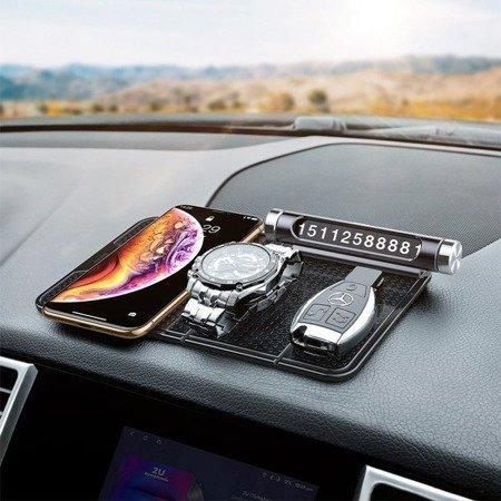 Mata do samochodu samoprzylepna antypoślizgowa żel uchwyt do tapicerki Baseus czarny